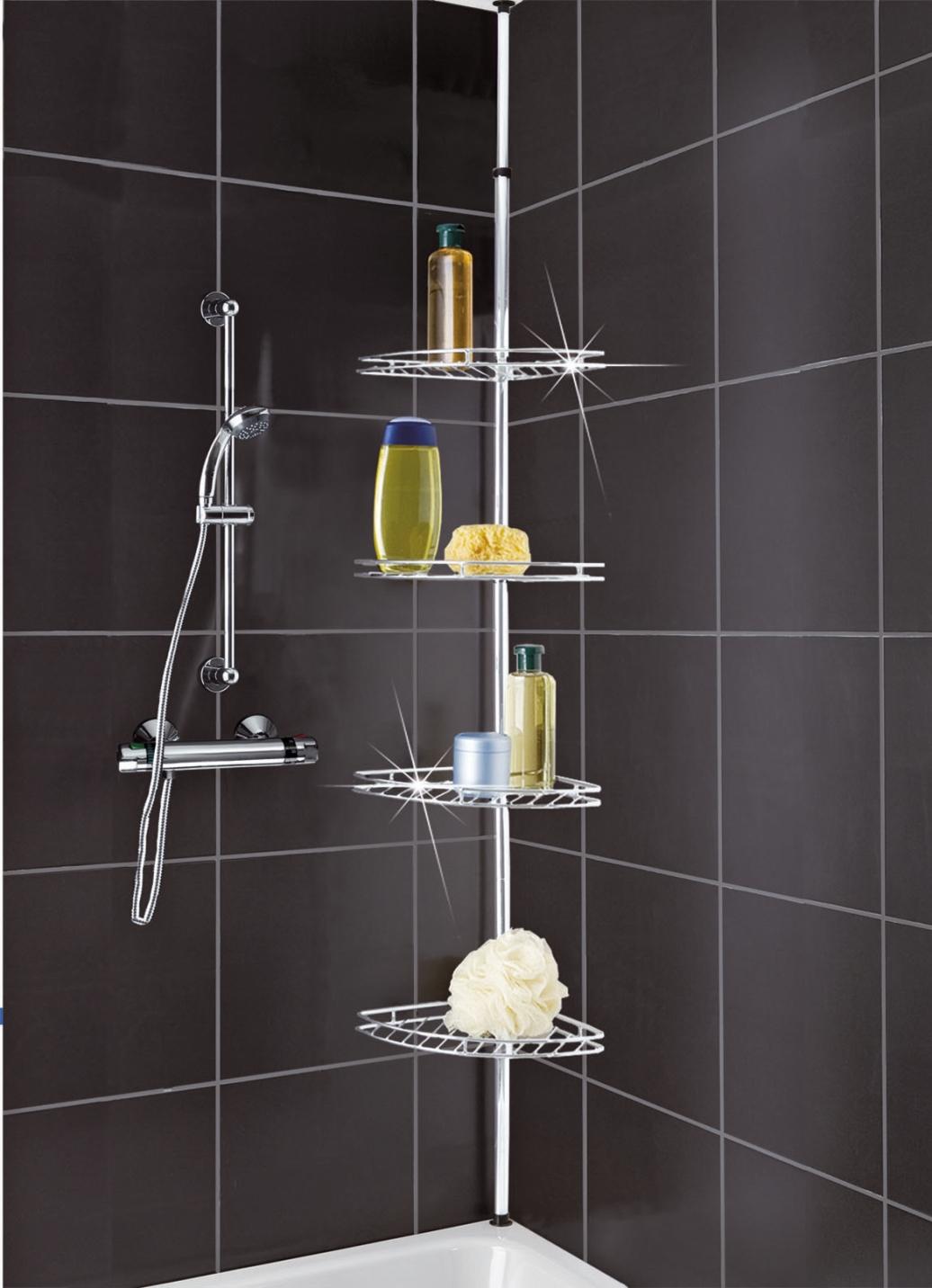 teleskop dusch eckregal badezimmer accessoires bader. Black Bedroom Furniture Sets. Home Design Ideas