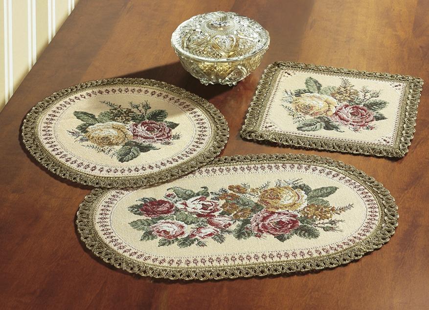 Tischdekoration mit rosen motiven im gobelin stil tischdecken bader - Tischdekoration mit rosen ...