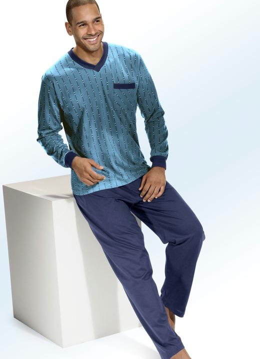 pyjama in 2 farben dreiteilig mit v ausschnitt und b ndchen nachtw sche bader. Black Bedroom Furniture Sets. Home Design Ideas