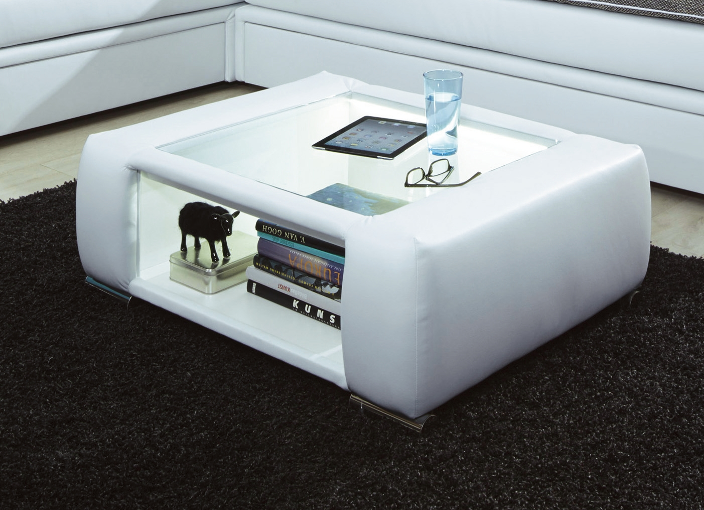 couchtisch mit led beleuchteter glasplatte verschiedene. Black Bedroom Furniture Sets. Home Design Ideas