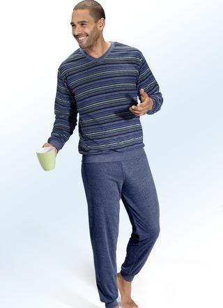 pyjama aus frottierstretch mit v ausschnitt und b ndchen. Black Bedroom Furniture Sets. Home Design Ideas
