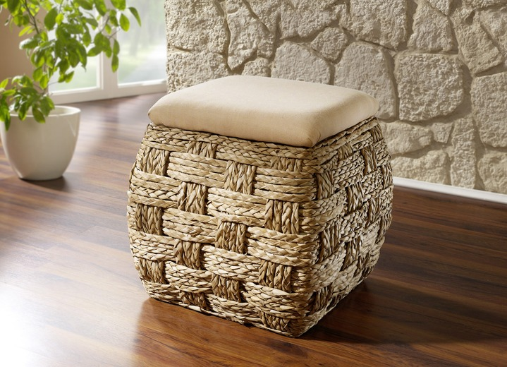 sitztruhe aus naturfaser in raffinierter flechtart landhausm bel bader. Black Bedroom Furniture Sets. Home Design Ideas