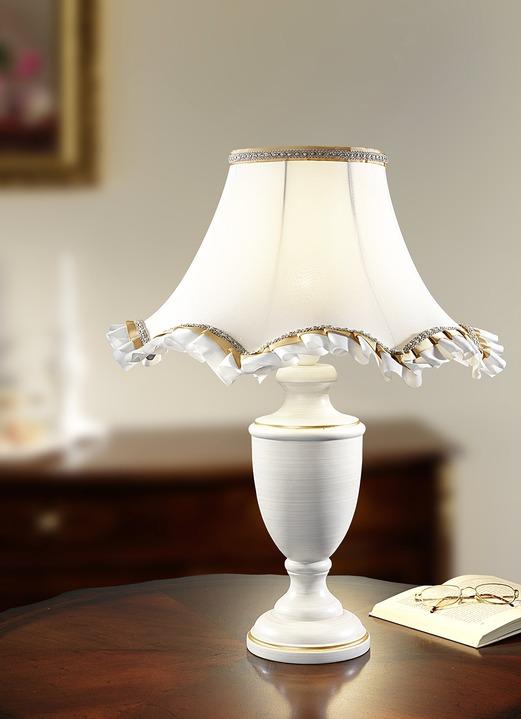 tischleuchte mit zauberhaftem schirm aus stoff lampen bader. Black Bedroom Furniture Sets. Home Design Ideas