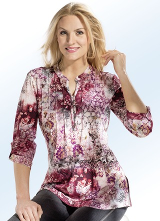 Floral dessinierte Shirt-Tunika in 3 Farben