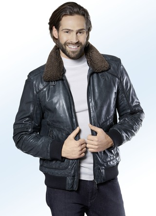 Lederblouson mit Zierband allover
