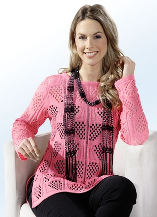 Pullover in 2 Farben mit tollem Ajourmuster allover