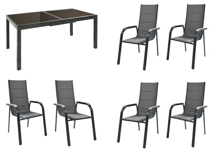 gartenm bel set trivero 7 teilig mit stapelsesseln. Black Bedroom Furniture Sets. Home Design Ideas