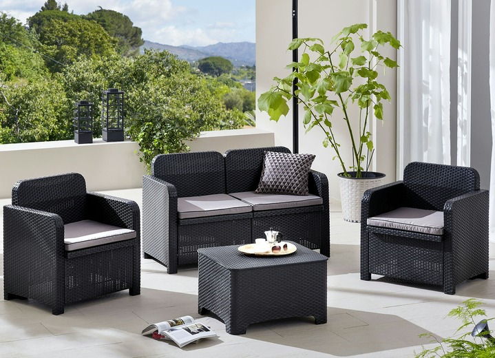 Gartenmöbel - Lounge-Set Arenal aus 100% Recycling-Material, in Farbe ANTHRAZIT Ansicht 1