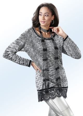 Longpullover in Materialmix mit Spitze